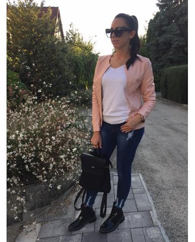 Amandine műbőr dzseki - rózsaszín