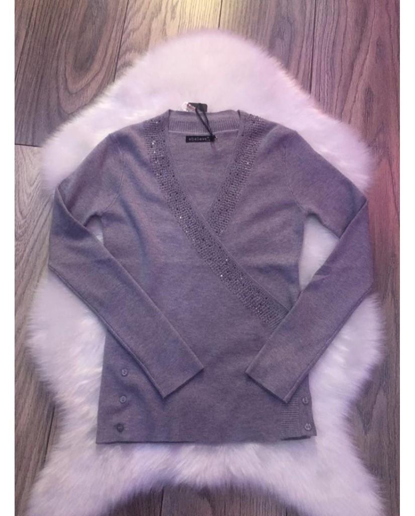 2in1 Kardigánná alakítható pulóver - szürke