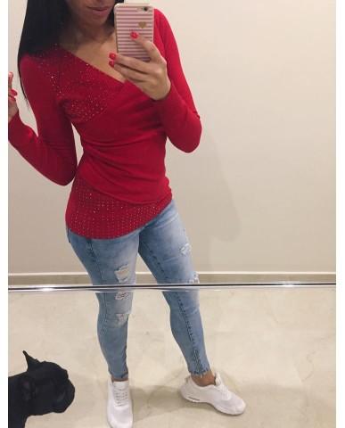 Átlapolt pulóver - piros