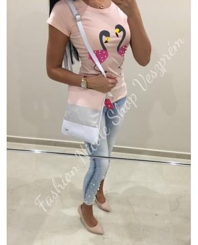 VIA55 rózsaszín/ezüst/fehér táska